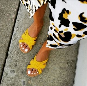 Shoes - 🆕️//The Marigold// yellow braided sandal